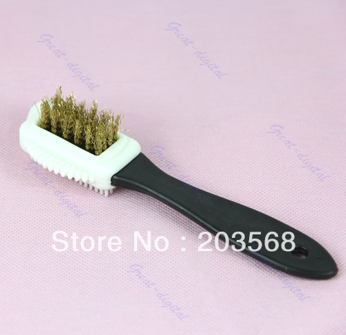 Free shipping Black S Shape Shoe Cleaning Brush Suede Nubuck Boot Shoes Cleaner 3 Side(China (Mainland))