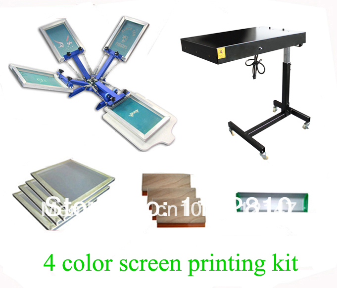 Full 4 color 1 station t shirt screen printing kit press for T shirt screen printing prices
