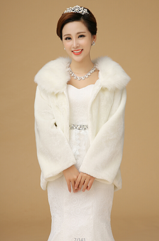 Buy long sleeve winter wedding coat faux for Winter shawls for wedding dresses