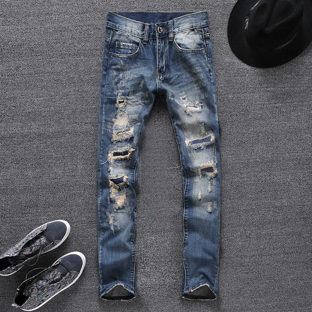 LP66 бесплатная доставка 2015 мужской прямой ногой джинсовые брюки мужчины модный ...