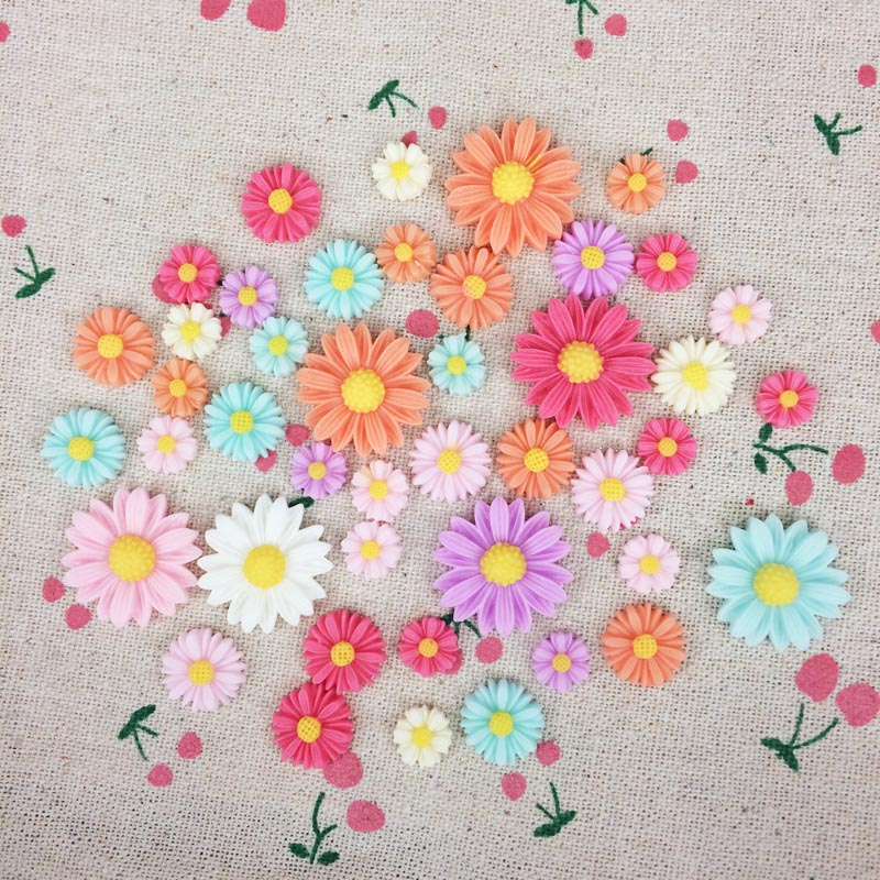 Mixed Color Flatback Flat Back Resin Flower Cabochon Kawaii DIY Resin Craft Decoration Scrapbook Accessories For Phone Case(China (Mainland))
