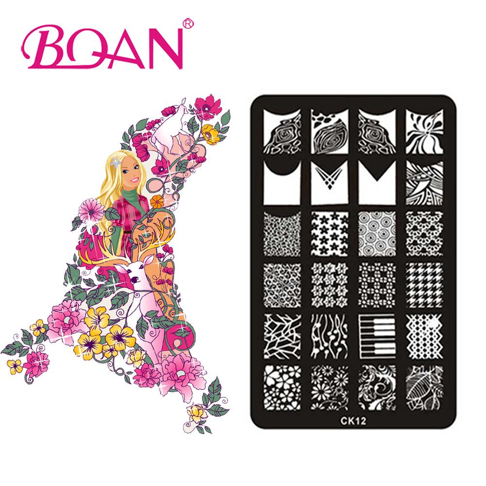 BQAN 10pcs/lot 24 Different Patterns Flowers Stamping Nail Polish CK12(China (Mainland))