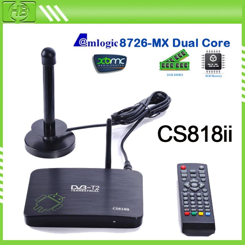 Russia DVB-T2 PVR Android TV BOX CS818 II Media Player Amlogic Aml8726MX 1G 8G HDMI WiFi Smart IPTV Tuner Receiver full xbmc BOX(China (Mainland))