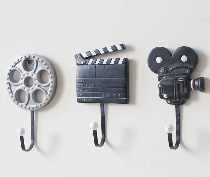 free shipping ~ 3pcs / set of new ideas to do the old movie equipment design decorative wall coat hook hanger hook hot(China (Mainland))