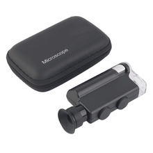 2017 NEW Mini portable Microscope Pocket 200X~240X Handheld LED Lamp Light Loupe Zoom Magnifier Magnifying Glass Pocket Lens(China (Mainland))