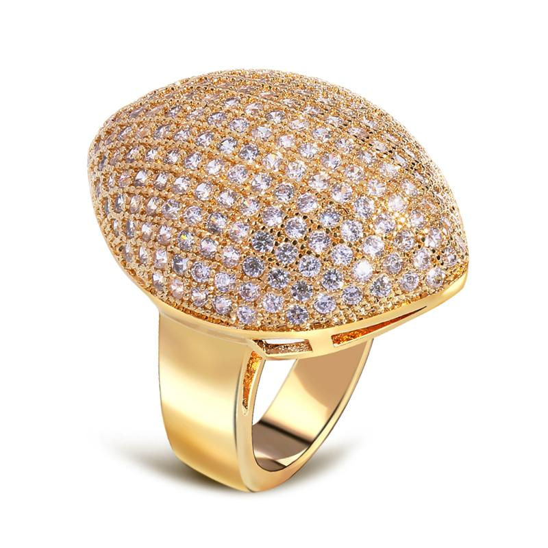 Perfect fashion 2014 women's gold plated ring pave micro setting zirconia crystal wedding()