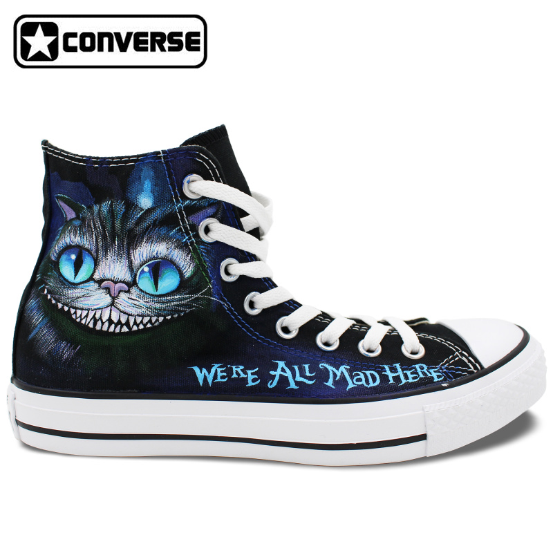 Hand Painted Shoes Men Women Converse Star We're Mad Cheshire Cat Alice Wonderland Design High Top Sneakers - WenArtWork Store store