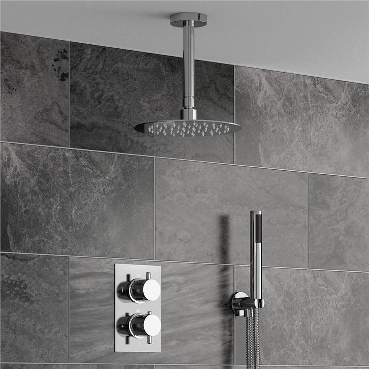 "8"" Round Ceiling Ultra thin Bathroom Shower Head Set Chrome Thermostatic Mixer Valve(China (Mainland))"