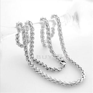 2015 New Modal Casual Men Necklaces Stainless Steel Braided Chains Necklaces Men 3 4 5 6mm Silver Fashion Men Jewelry(China (Mainland))