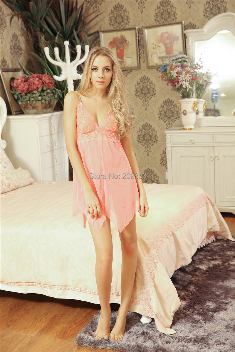 Sexy Lingerie apparel lace suspender chemise lace see through dress+g string set sleepwear costume(China (Mainland))
