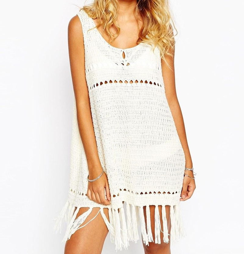 Fashion Book Cover Ups ~ New white crochet beach cover up sleeveless swimwear