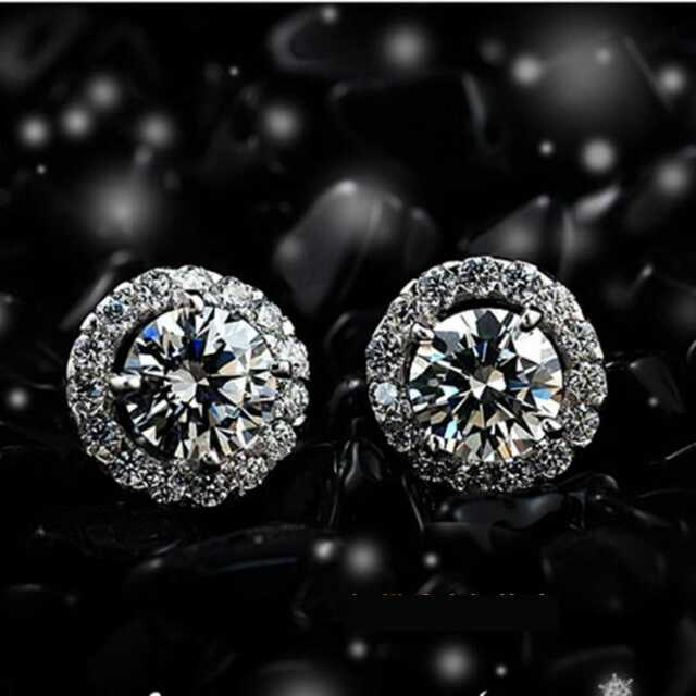 1CT/ Piece Round Brilliant Best Jewelry Gift SONA Synthetic Diamond Engagement Earrings Stud Solid Sterling Silver Earrings(China (Mainland))