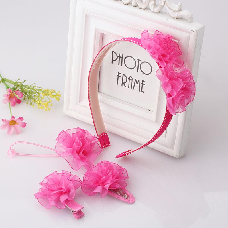 4 Pcs Set New Cute Baby Kids Headwear Hairpins/Hair Bands/Elastic Rubber Bands Flower Headbands Hair Clips Girls Barrette Sets(China (Mainland))