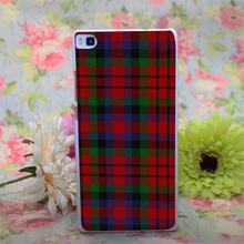 RED BLUE TARTAN SCARF FASHION Design White Hard Case Cover for Huawei Ascend P6 P7 P8 P8 lite