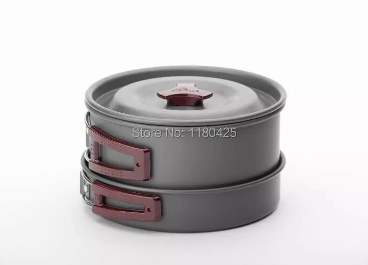 FMC-202 Portable Outdoor Cooking Set Anodised Aluminum Non-stick Cookware Camping Picnic Hiking Utensils Pot Pan Bowl(China (Mainland))
