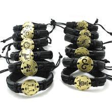 Factory Price Mens Fashion 12PCS Fashion Jewelry Zodiac Genuine Leather Bracelets Bangles PUNK Wholesale New Gift