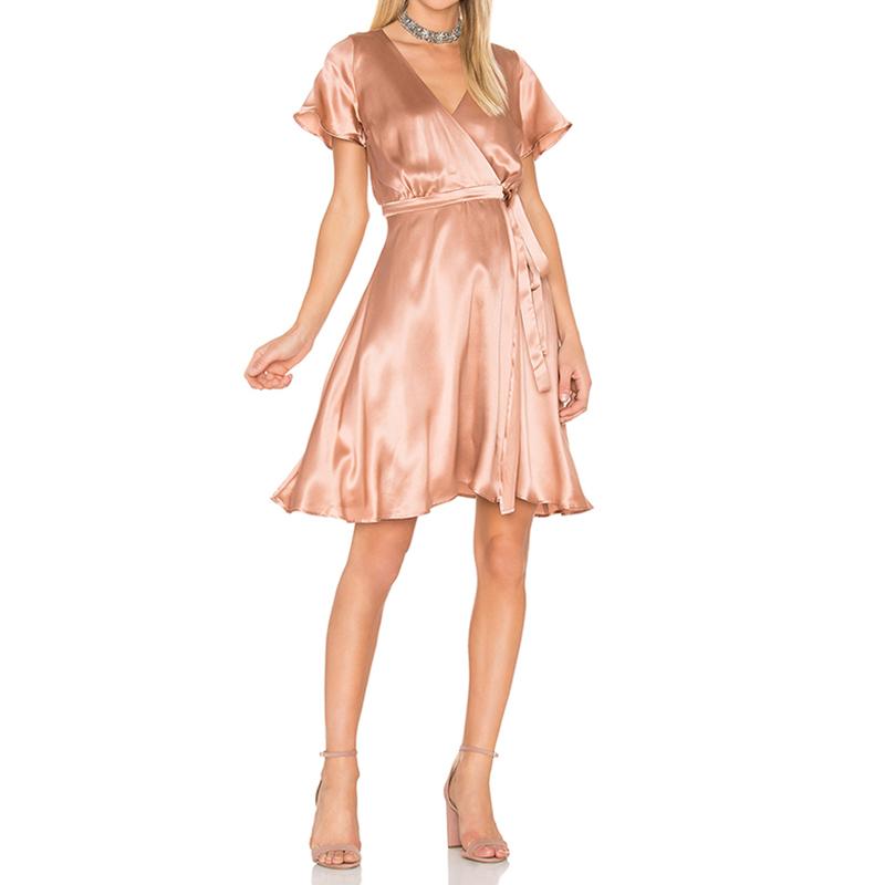 Satin dress sashes V neck women summer a line holiday dress fashion casual ladies wrap dresses high end vestidos femininos(China (Mainland))