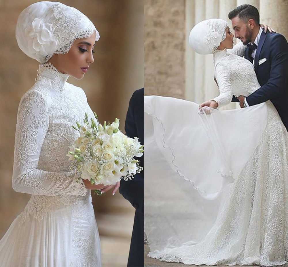 2016 middle east high neck long sleeve muslim wedding for Wedding dress in dubai