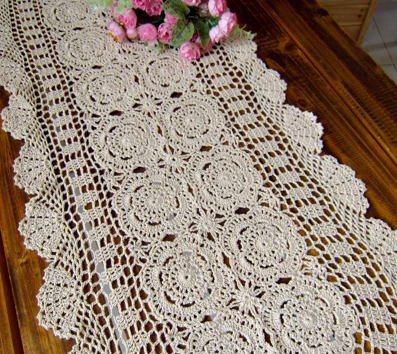 Long Table Runner, Crocheted Table runner,size:16x87 ...