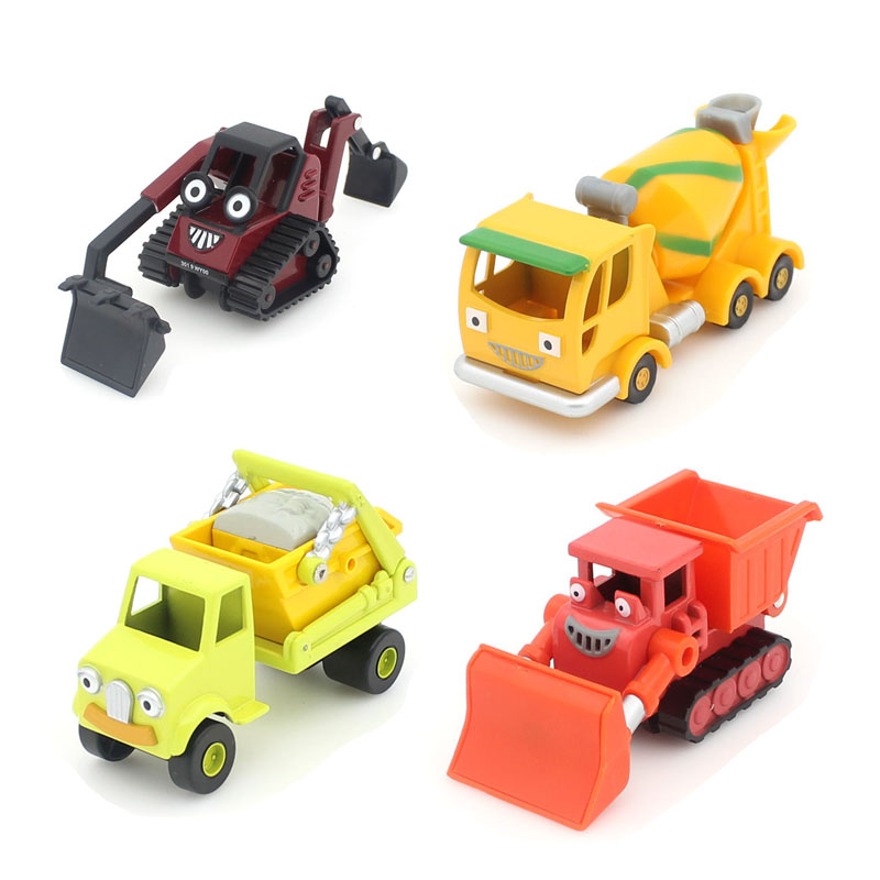 4Pcs / Set Bob the Builder 1:55 die cast metal model cars Sturdy alloy toy car Children's toys Free shipping(China (Mainland))