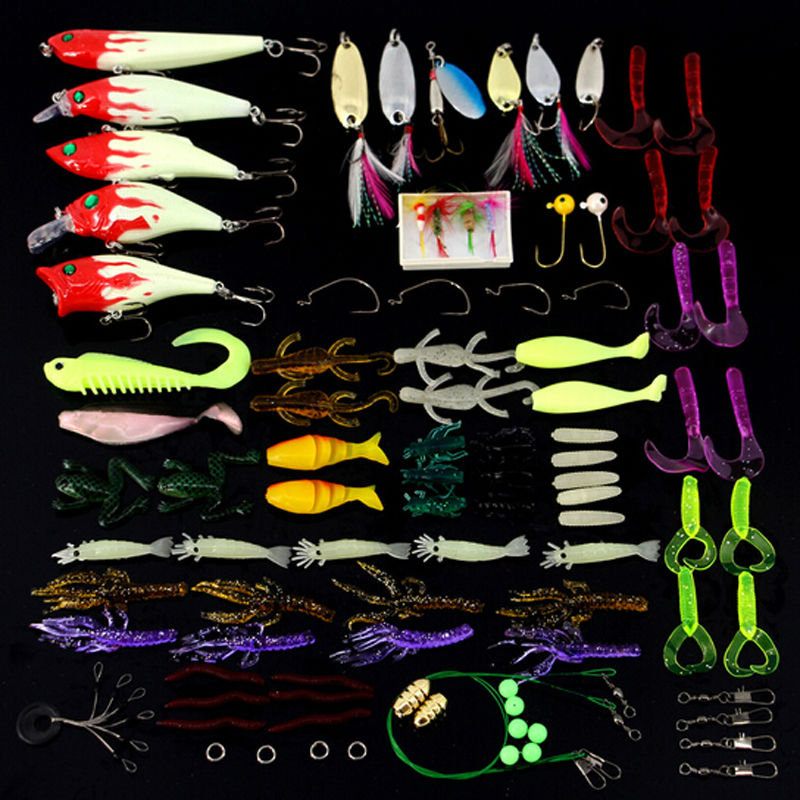 100pcs/lot Fishing Tools Lure Kit Set Pesca Tackle Accessory Minnow Popper Crank Spinner Bait Iscas Artificial Hook for Fishing<br><br>Aliexpress