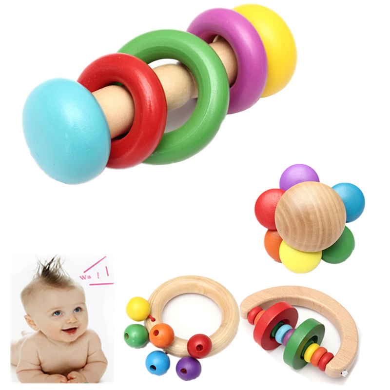 High Quality Funny Design Kid Baby Wooden Bell Rattle Toy Handbell Musical Education Percussion Instrument Development Toys(China (Mainland))