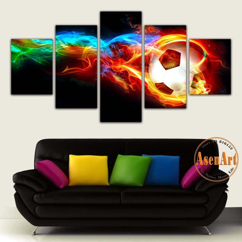 5 Panel Fire Football Picture Colorful Painting for Living Room Soccer Fan Home Decor Wall Art Canvas Prints Unframed(China (Mainland))