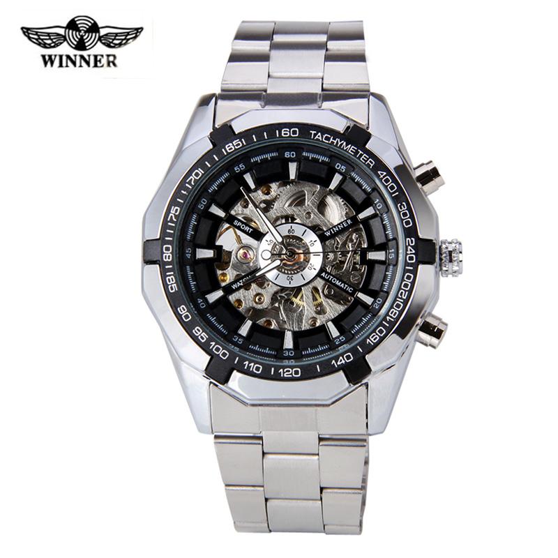 Luxury Brand Winner Men' Watch Stainless Steel Skeleton Mechanical Watches Men Sports Wristwatch Relogio Masculino(China (Mainland))