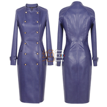 New 2015 spring autumn women fashion brief double breasted long slim faux sheep leather black/navy blue jackets and coats S2379(China (Mainland))