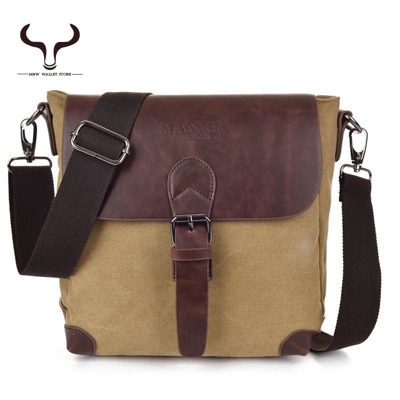 Belt Buckle More secure Style Casual Simple Men's Small Canvas Shoulder Messenger Bag Solid Cover Crossbody Bags XCMX/1309(China (Mainland))