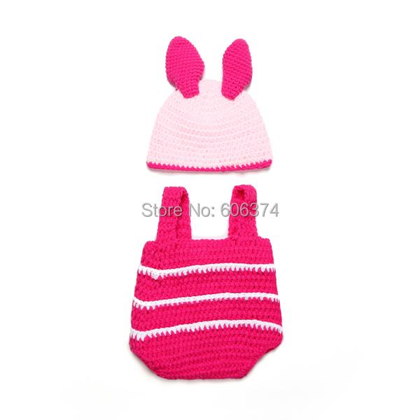 Новый приходить милый зайчик шляпа комплект ручной работы наряды младенческой Rabit девочка животных шапочка шапочка фотография реквизит трикотажные шлема вязания крючком