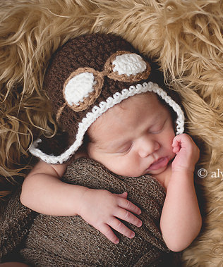 0-3M Baby Boy Hats Boy Photo Props for newborn dark brown christmas gift Toodler hats Pilot Hats Baby Beanie Photos