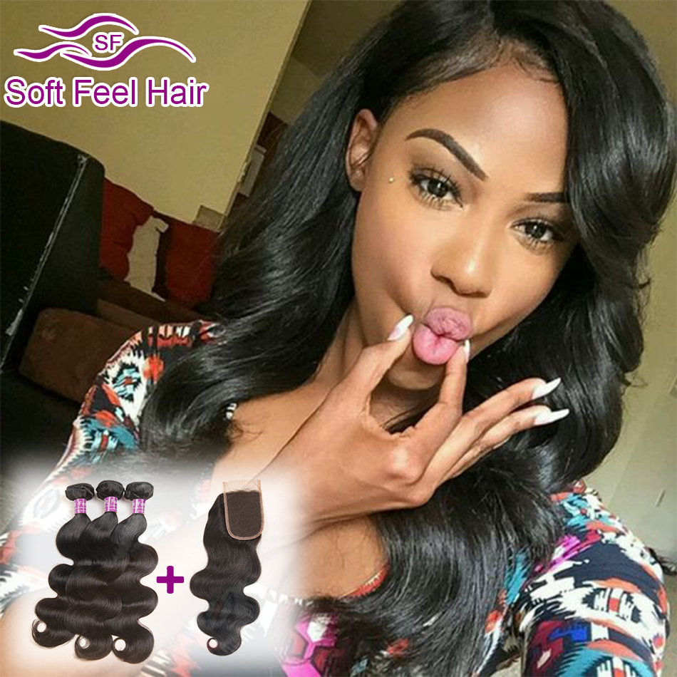 Indian Virgin Hair With Closure Unprocessed Indian Virgin Hair Body Wave 3 Bundes With Closure 8A Human Hair With Lace Closure(China (Mainland))