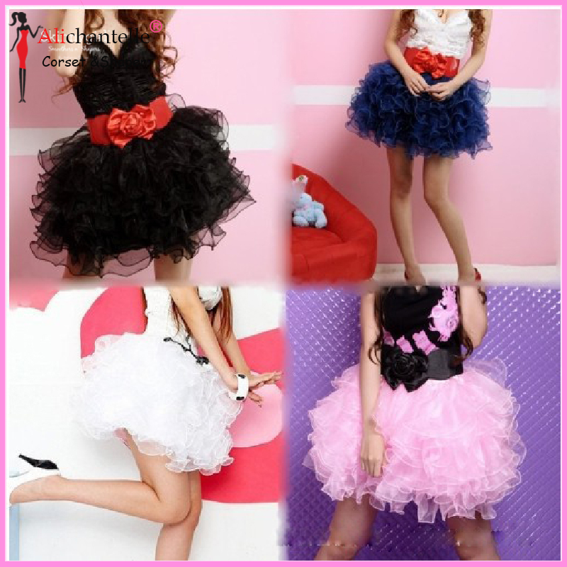 Cute Women Gothic Lolita Dress Sexy Lingerie Waist Training Corset Tutu Tulle Dress Colorful Dance Half Slip Corset Mini Dresses(China (Mainland))