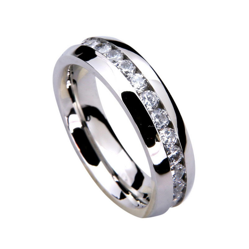 316L stainless steel rings titanium steel high polished silver ring inlaid within the arc of a circle Rhinestone ring(Chin