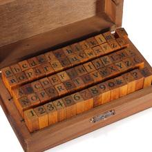 70pcs/set Vintage DIY Multi Purpose Regular Script Number Lowercase Alphabet Letter Decoration Wood Rubber Stamps Set Wooden Box(China (Mainland))