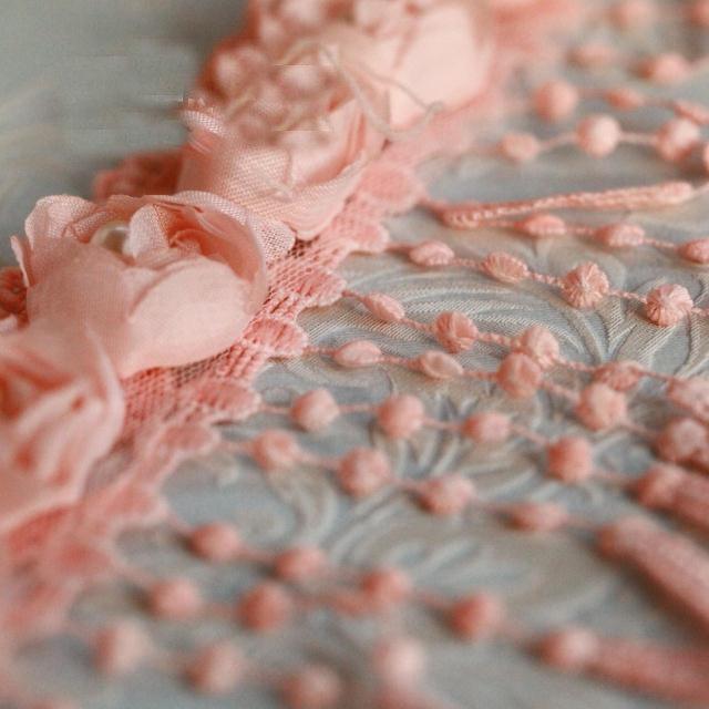 """2 meter 56pcs 11cm 4.33"""" wide pink rose tassels fringe beads lace trim ribbon free ship(China (Mainland))"""
