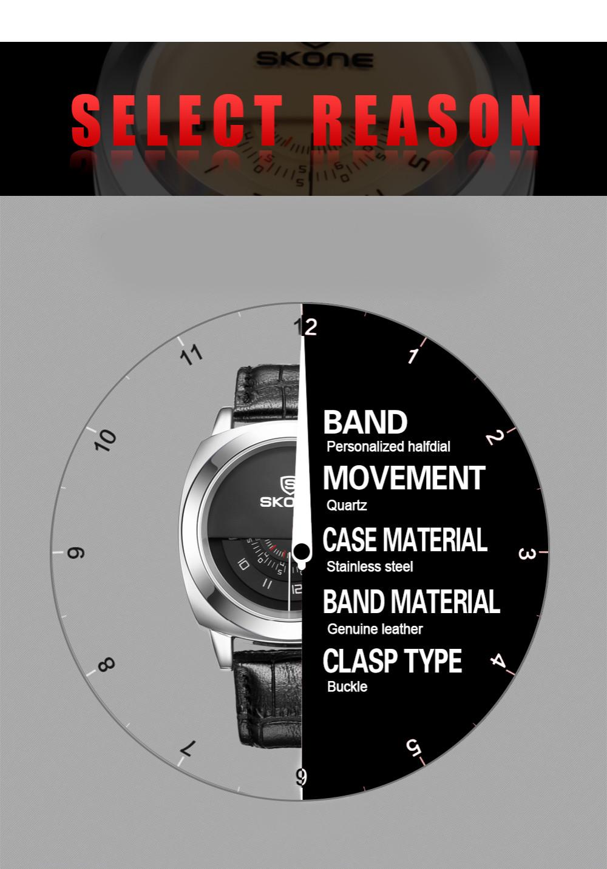 2016 Hot!Casual SKONE Genuine Men & Women Brand Wristwatches Special design Military Leather Sports Watch Relogio Masculino