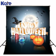 KATE photography backgrounds of festival happy halloween lantern pumpkins candle backdrop bright moon bat photo for studio