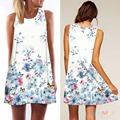 Women Summer Fashion Casual Printed A Line Mini O Neck Sleeveless Loose Slim Sundress Dress Multicolor