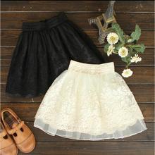New Summer Autumn 2016 Women Fashion Net Yarn Embroidery Lace High Waist Tutu Skirt