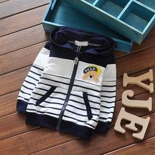 2016 spring baby boys girls long sleeve coat children hoodded stripe sport outwear kids cartoon outdoor sweater(China (Mainland))