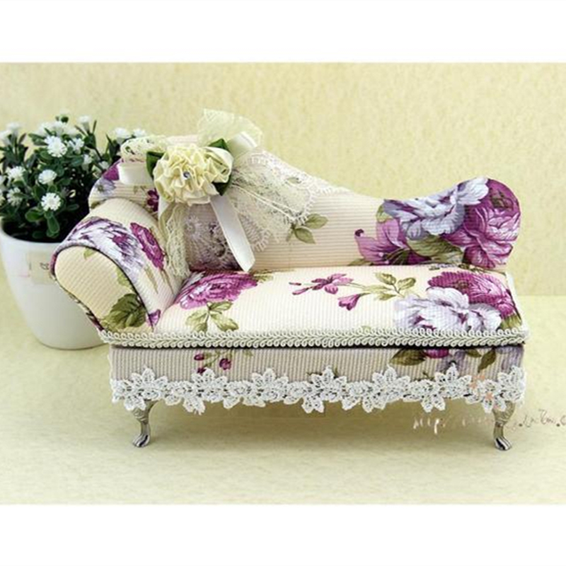 1pcs Creative Sofa Bed Shape ,Sweetest Gift Box For Jewelry,Purple Flowers Earrings/Jewelry Display,Makeup Organizer,Storage Box(China (Mainland))