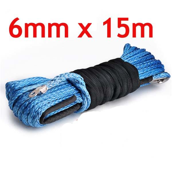6 мм * 15 м 100% синтетические лебедка веревки электрическая лебедка - дорога 7716 LBS прочность