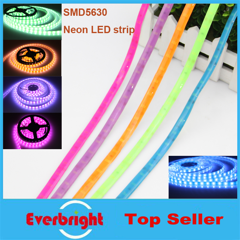 New Arrival LED Colourful Fluorescent strip DC12V SMD 5630 60 leds/m,IP65 waterproof Neon LED Strip,5m/lot<br><br>Aliexpress