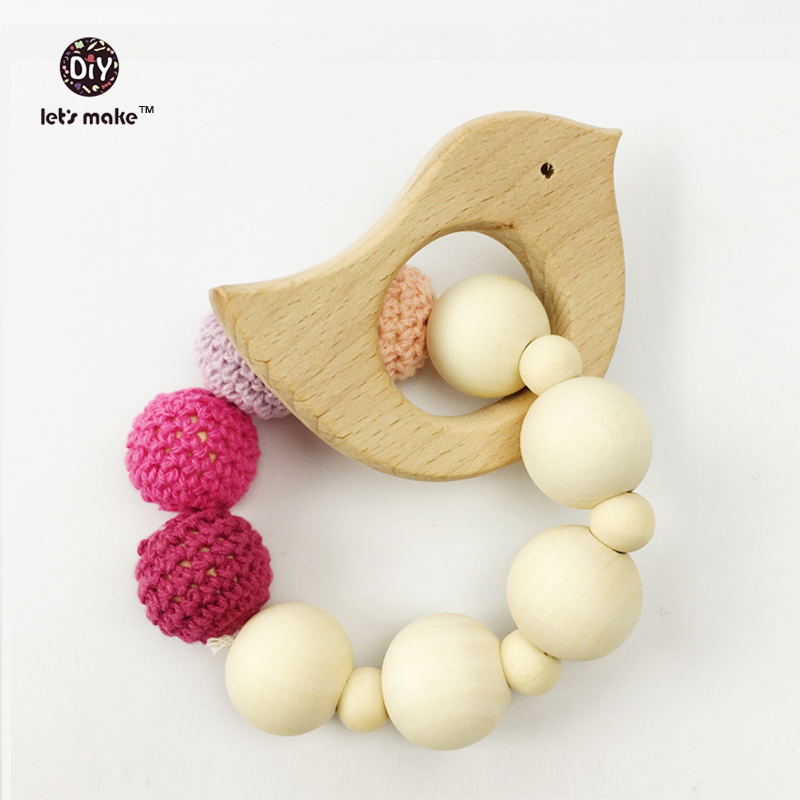 Wooden Baby Toy - Teething Ring Set Untreated Maple Teether with Organic Cotton Gift Bag Most Popular Baby Gift Baby Collection(China (Mainland))