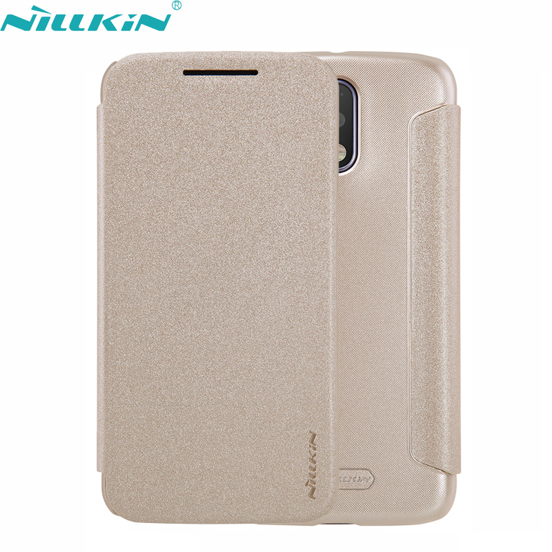 For Motorola Moto G4 Plus 5.5'' inch Leather Case Original Nillkin Quality Hard PC Frosted Black Cover Flip Mobile Phone Case(China (Mainland))