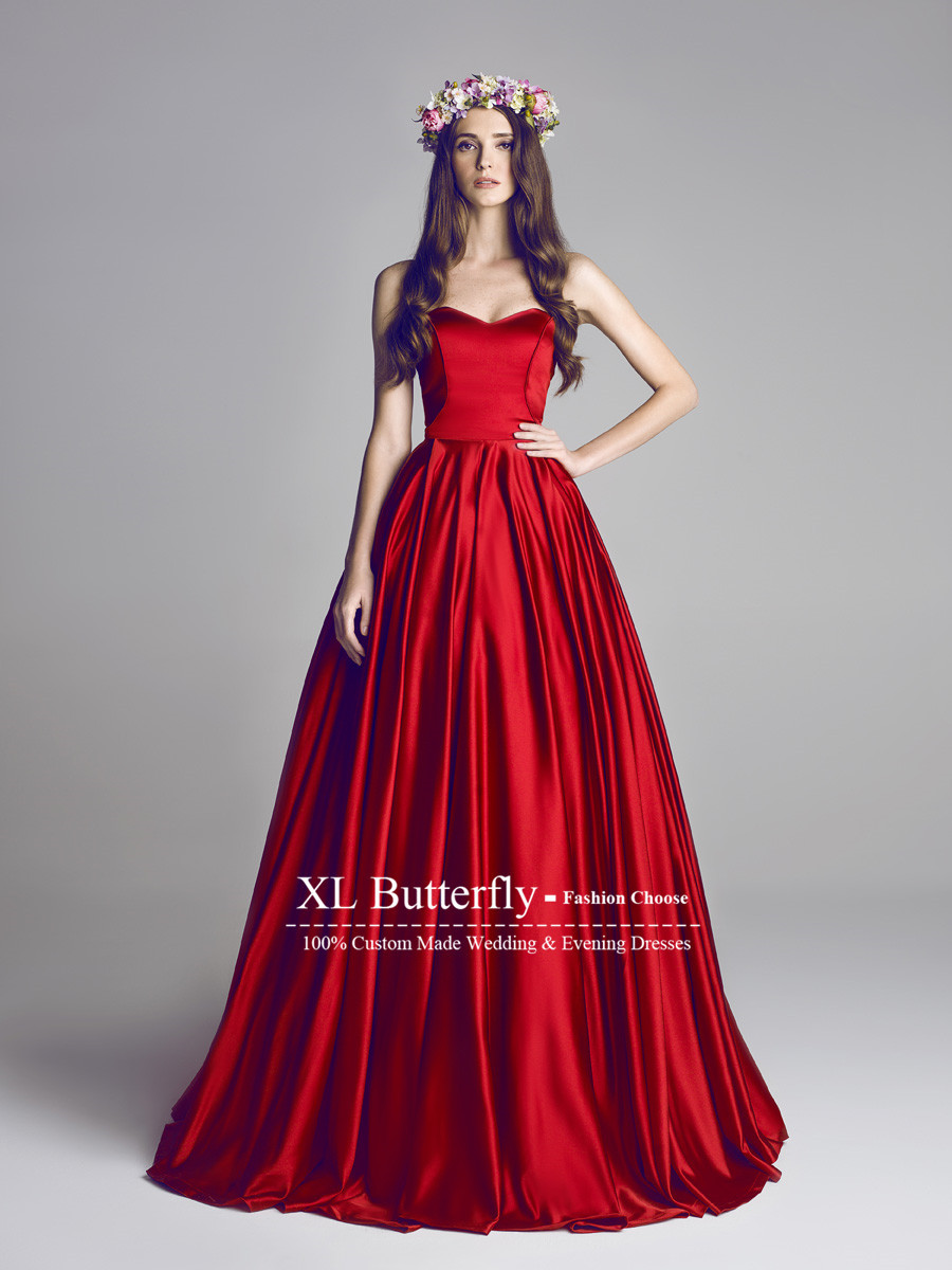 red winter wedding dress