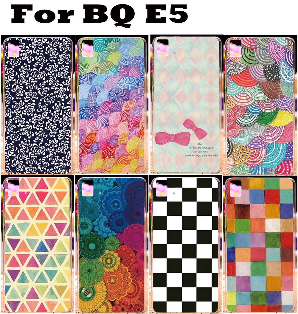DIY Cases For BQ Aquaris E5 3G 4G Beautiful Color Patterns Skidproof Plastic Hard back Skin Shell Phone Case Cover Protective(China (Mainland))