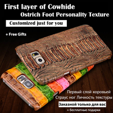 Back Case For Nokia XL 5.0 inch Top Quality Luxury Ostrich Leg Texture Cowhide Genuine Leather Customize Mobile Phone Rear Cover